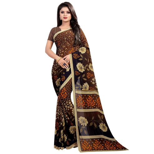 Hypnotic Brown Colored Casual Wear Printed Georgette Saree