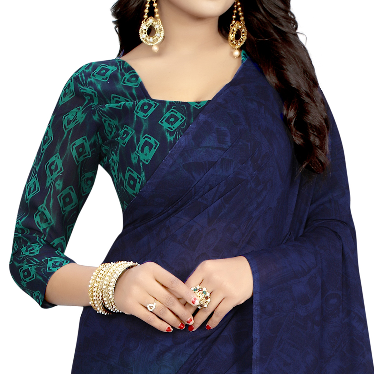 Flaunt Navy Blue Colored Casual Wear Printed Georgette Saree