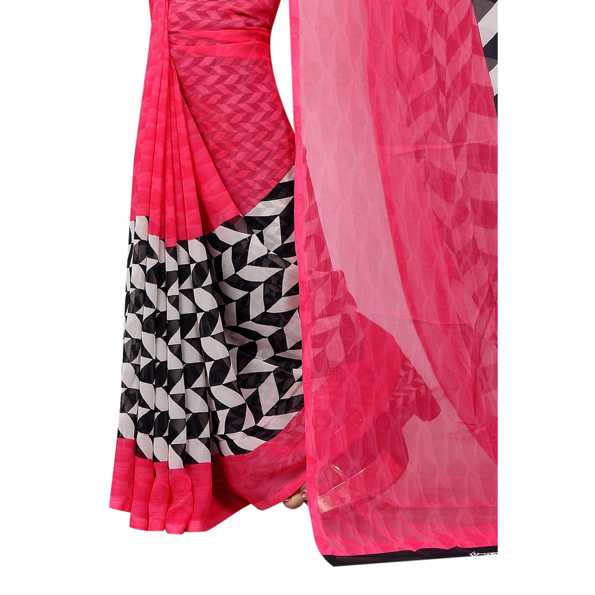 Jazzy Pink Colored Casual Wear Printed Georgette Saree
