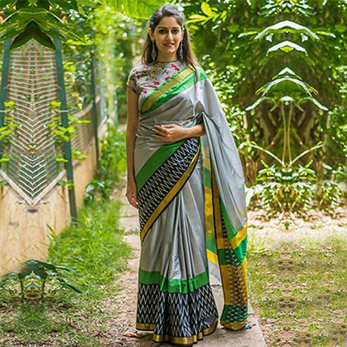Grey Art Silk Printed Saree