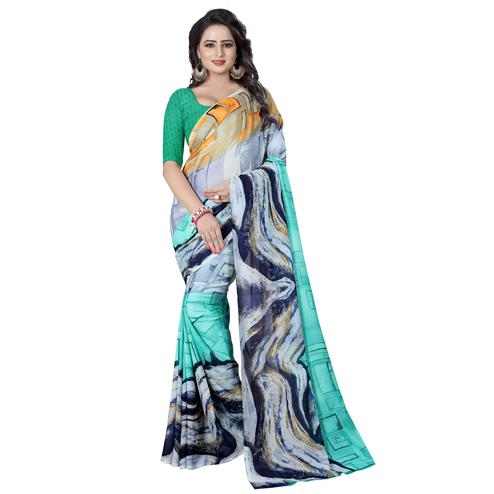 Prominent Multi Colored Casual Wear Printed Georgette Saree