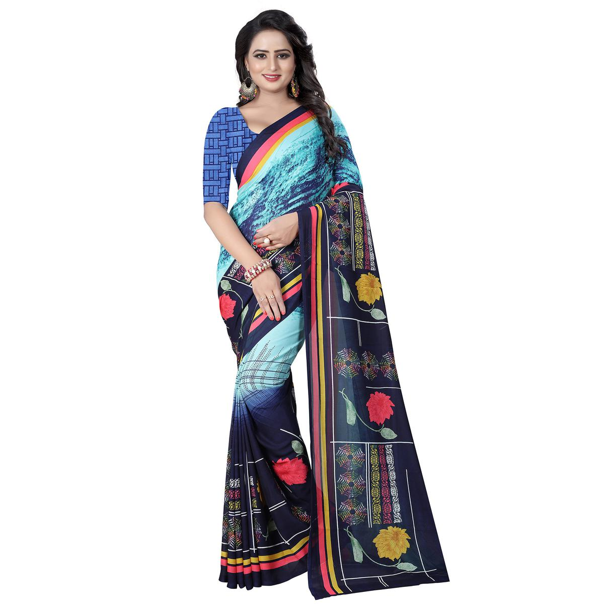 Capricious Blue Colored Casual Wear Printed Georgette Saree