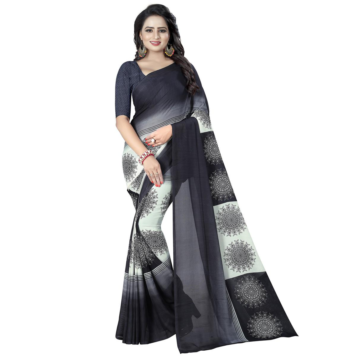 Captivating Black - Grey Colored Casual Wear Printed Georgette Saree