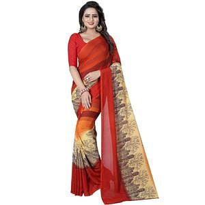 Intricate Red Colored Casual Wear Printed Georgette Saree