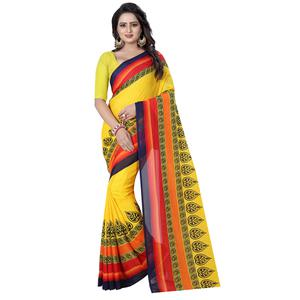 Desirable Yellow Colored Casual Wear Printed Georgette Saree