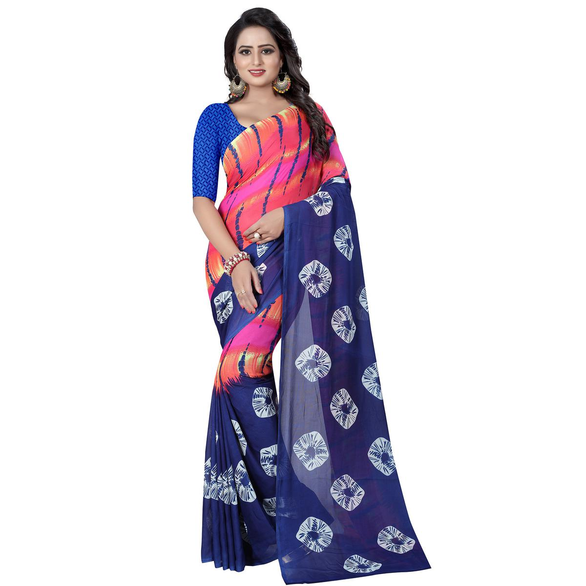 Sophisticated Blue - Multi Colored Casual Wear Printed Georgette Saree