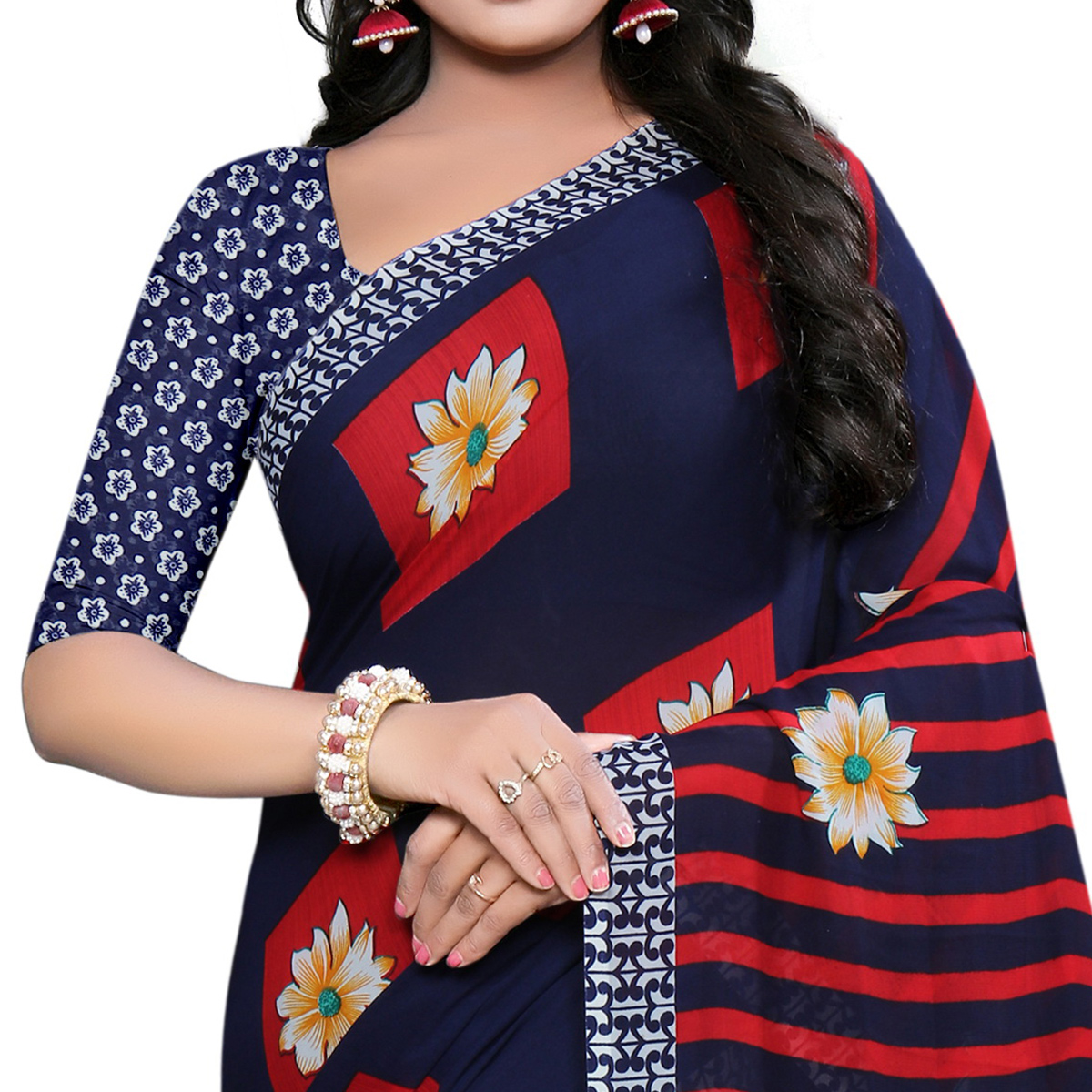 Demanding Navy Blue Colored Casual Wear Printed Georgette Saree