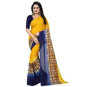 Pleasant Yellow Colored Casual Wear Printed Georgette Saree