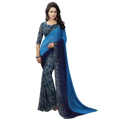 Unique Blue Colored Casual Wear Printed Georgette Saree