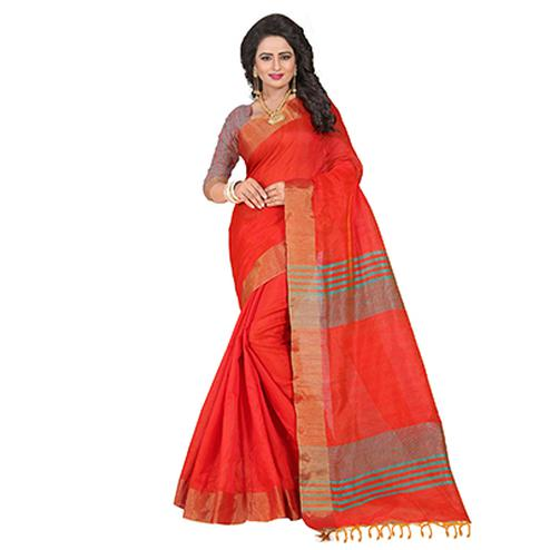 Graceful Red Festive Wear Cotton Saree