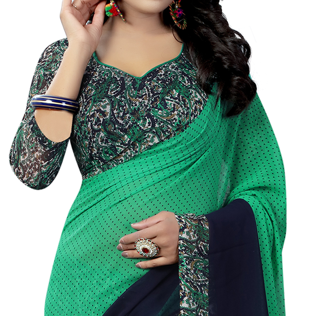 Refreshing Green Colored Casual Wear Printed Georgette Saree