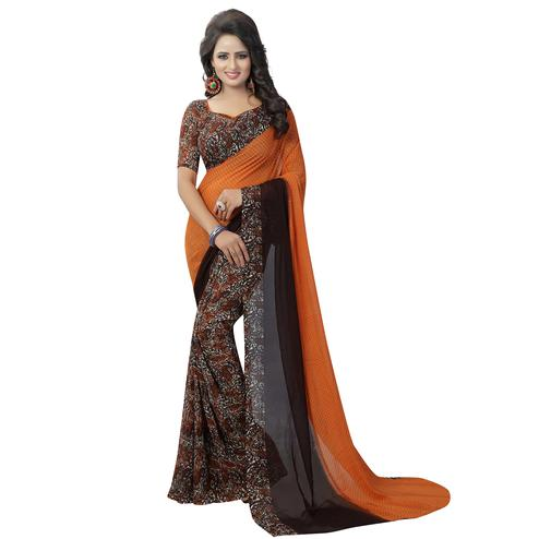 Elegant Orange Colored Casual Wear Printed Georgette Saree