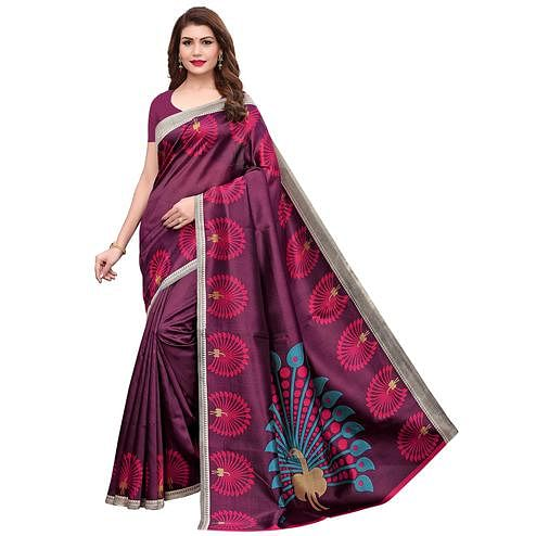 Lovely Purple Colored Casual Printed Art Silk Saree