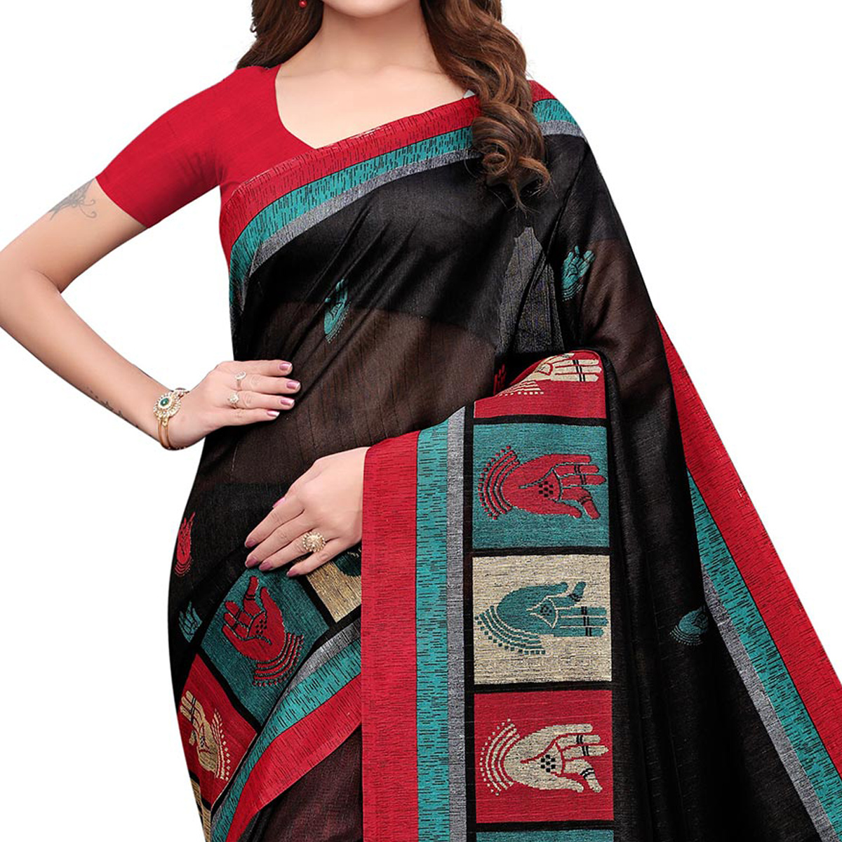 Flaunt Black Colored Casual Printed Bhagalpuri Silk Saree