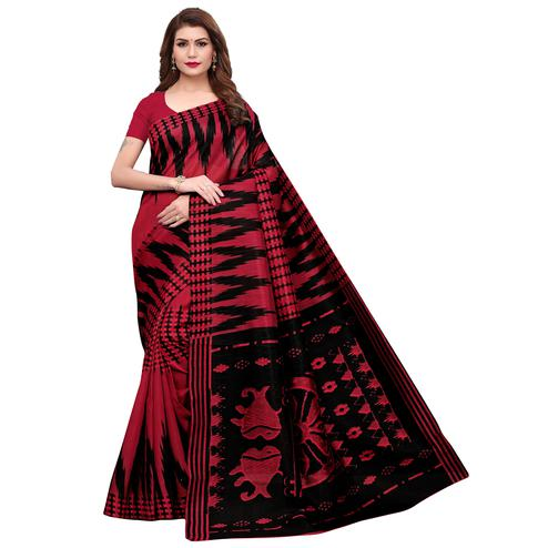 Amazing Red Colored Casual Printed Bhagalpuri Silk Saree