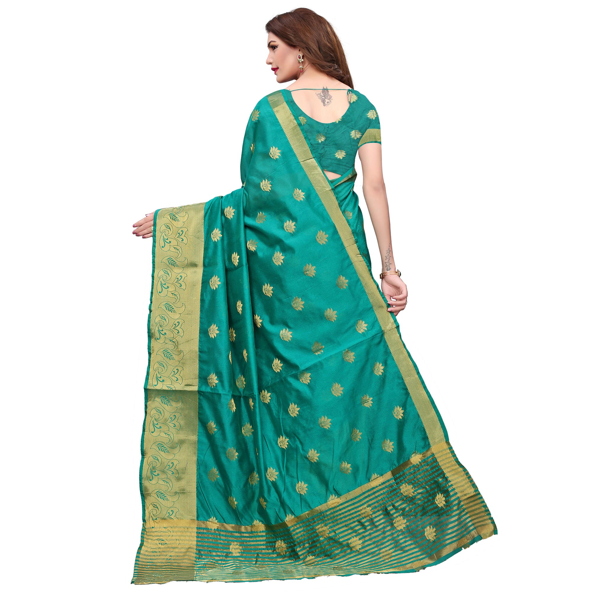 Refreshing Turquoise Green Colored Casual Printed Kanjivaram Silk Saree