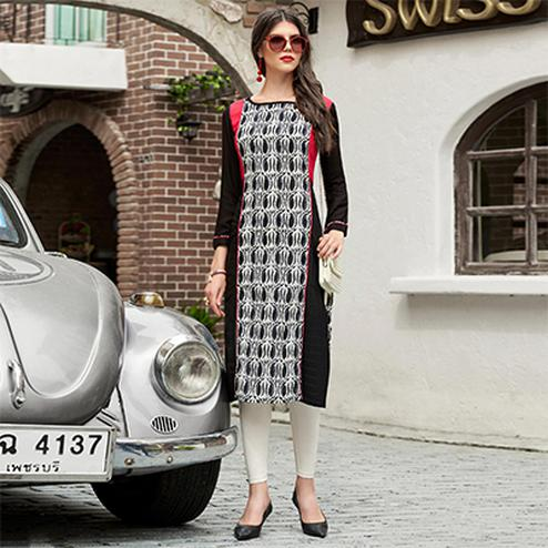 Black & White Cotton Printed Designer Kurti