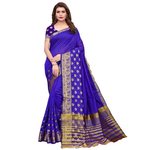 Appealing Purple Colored Casual Printed Kanjivaram Silk Saree
