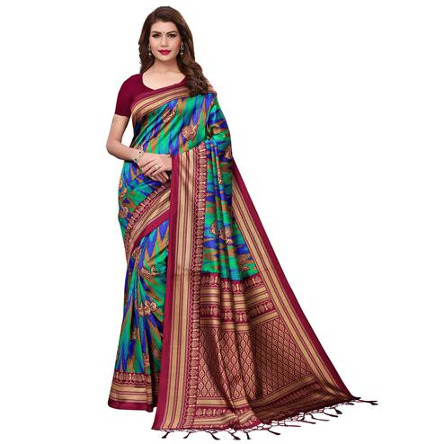 Adorable Maroon-Multi Colored Festive Wear Printed Mysore Silk Saree