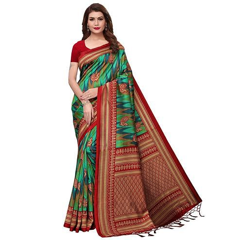 Demanding Red-Multi Colored Festive Wear Printed Mysore Silk Saree