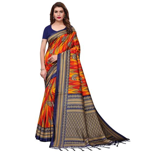 Desirable Blue-Multi Colored Festive Wear Printed Mysore Silk Saree