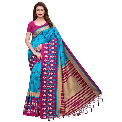 Marvellous Sky Blue-Pink Colored Festive Wear Printed Mysore Silk Saree