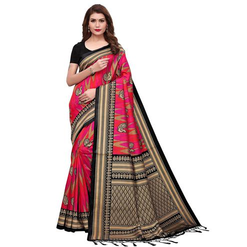 Fantastic Black-Pink Colored Festive Wear Printed Mysore Silk Saree