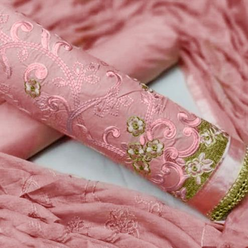 Beautiful Peach Colored Partywear Embroidered Cotton Dress Material