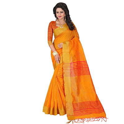 Mesmerising Yellow Festive Wear Cotton Saree