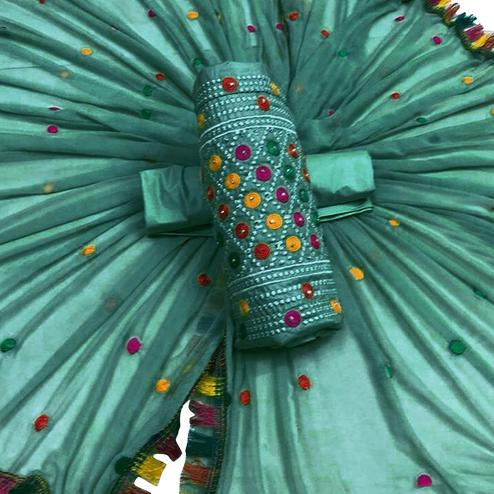 Refreshing Turquoise Green Colored Partywear Embroidered Cotton Dress Material
