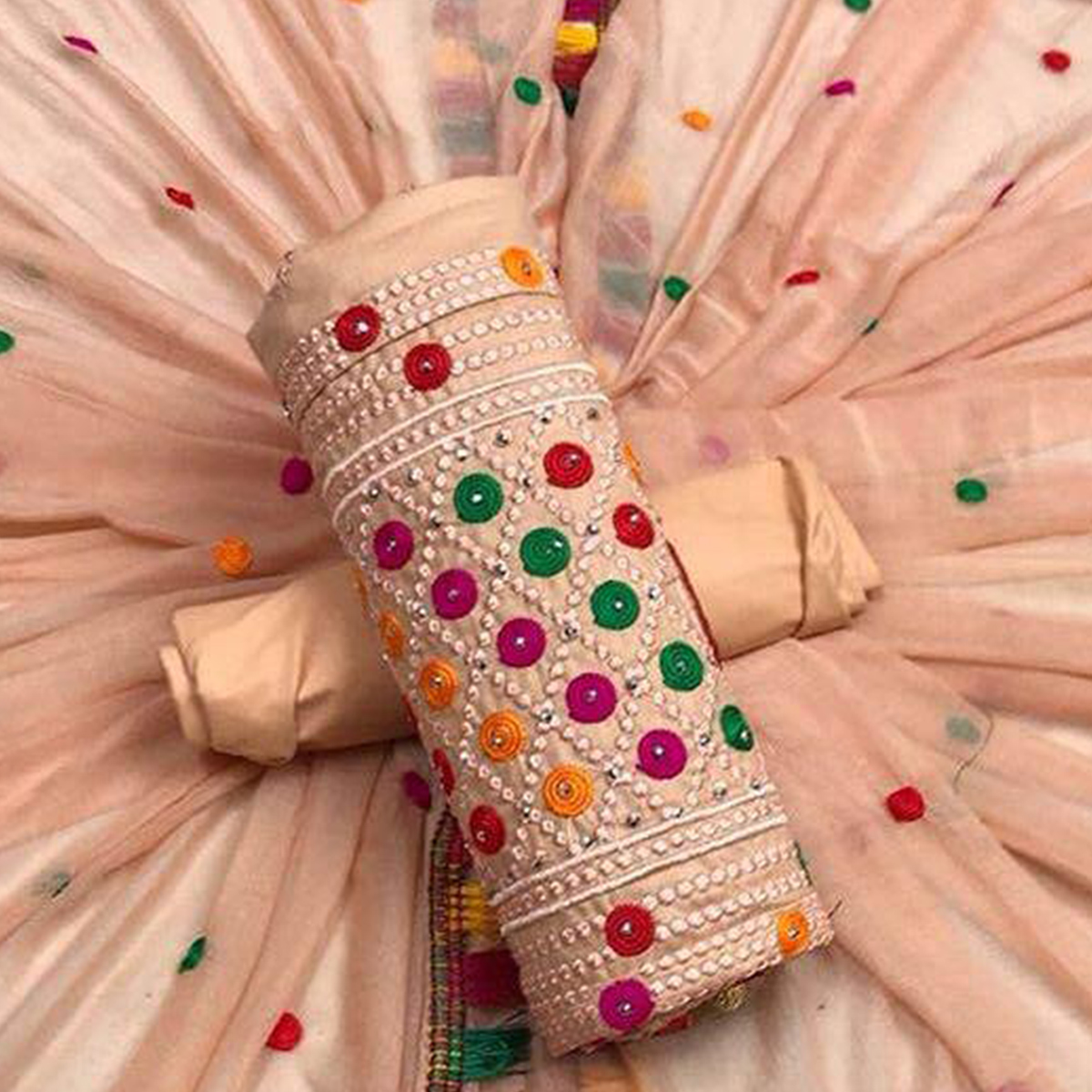 Starring Peach Colored Partywear Embroidered Cotton Dress Material