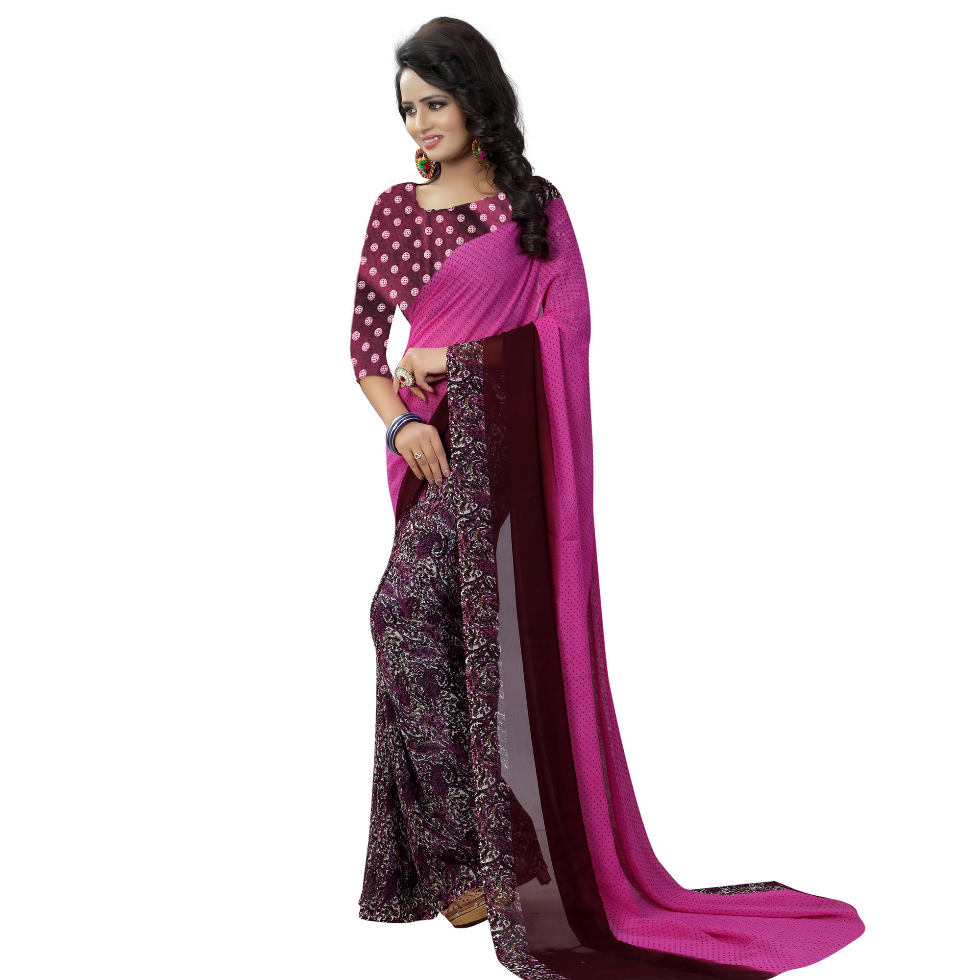 Alluring Pink Colored Casual Wear Printed Georgette Saree