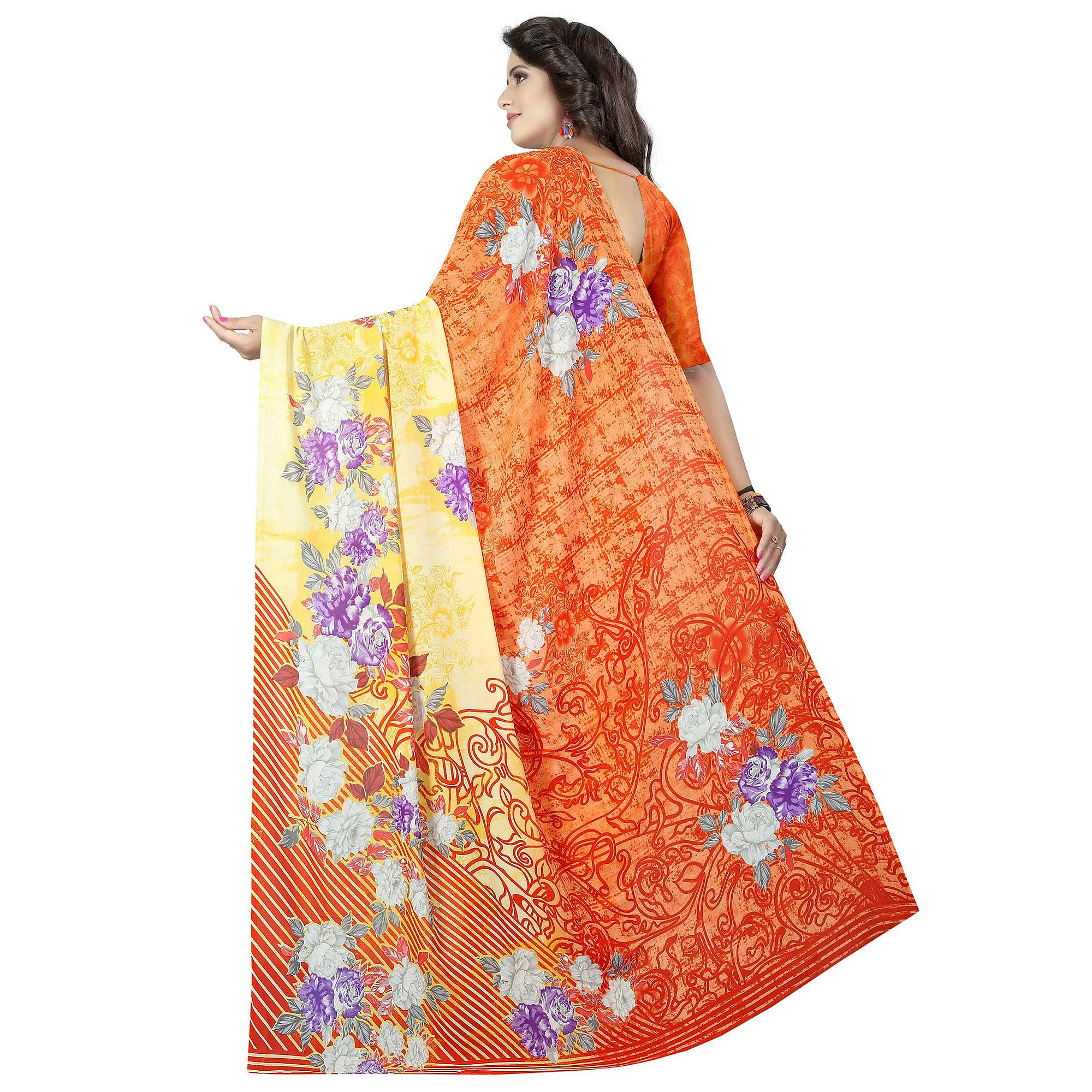 Radiant Orange - Yellow Colored Casual Wear Printed Georgette Saree