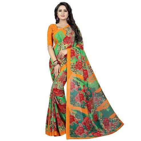 Opulent Multi Colored Casual Wear Printed Georgette Saree