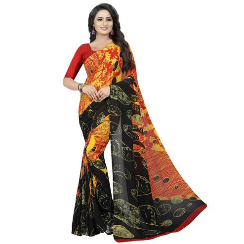 Dazzling Black - Multi Colored Casual Wear Printed Georgette Saree