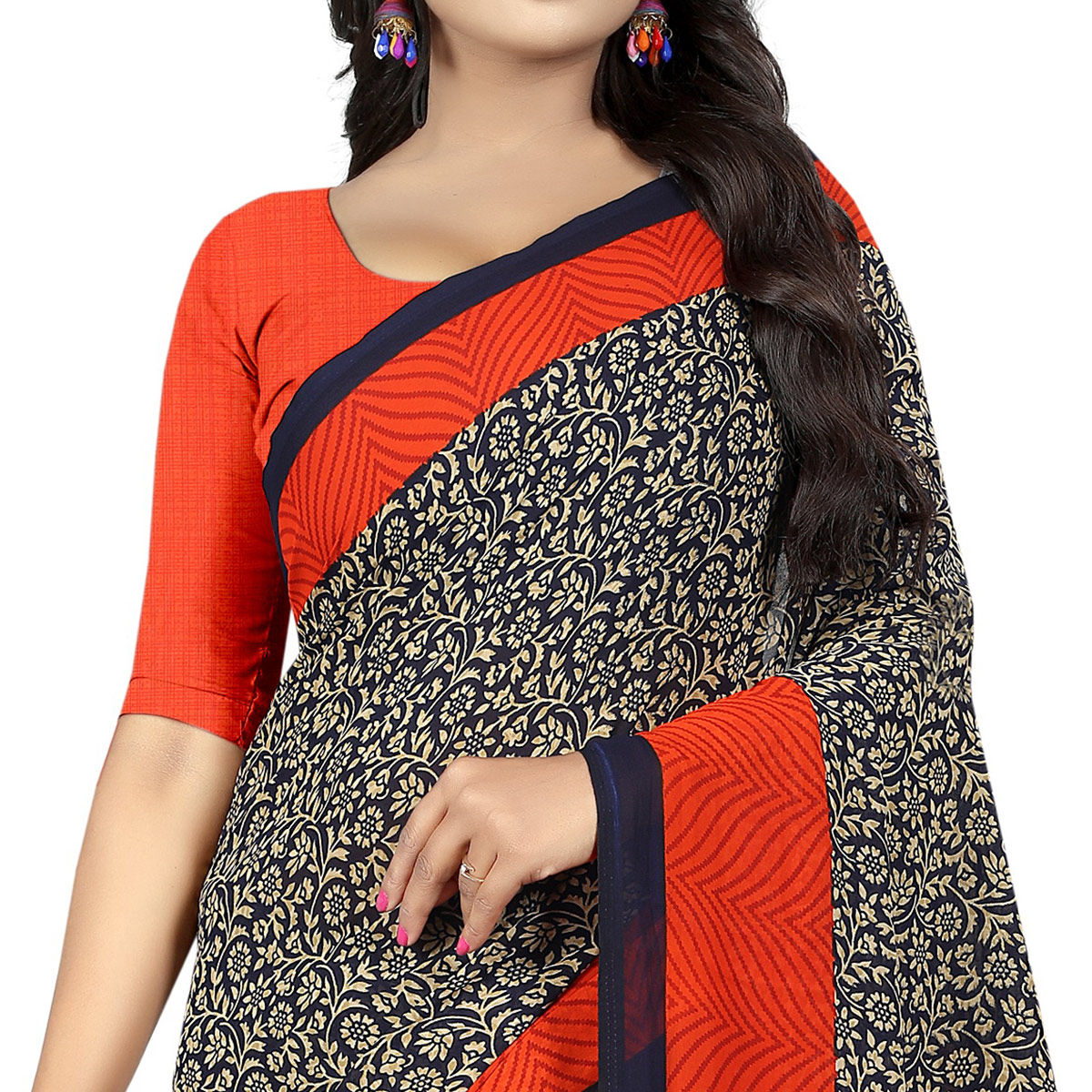 Flattering Black Colored Casual Wear Printed Georgette Saree