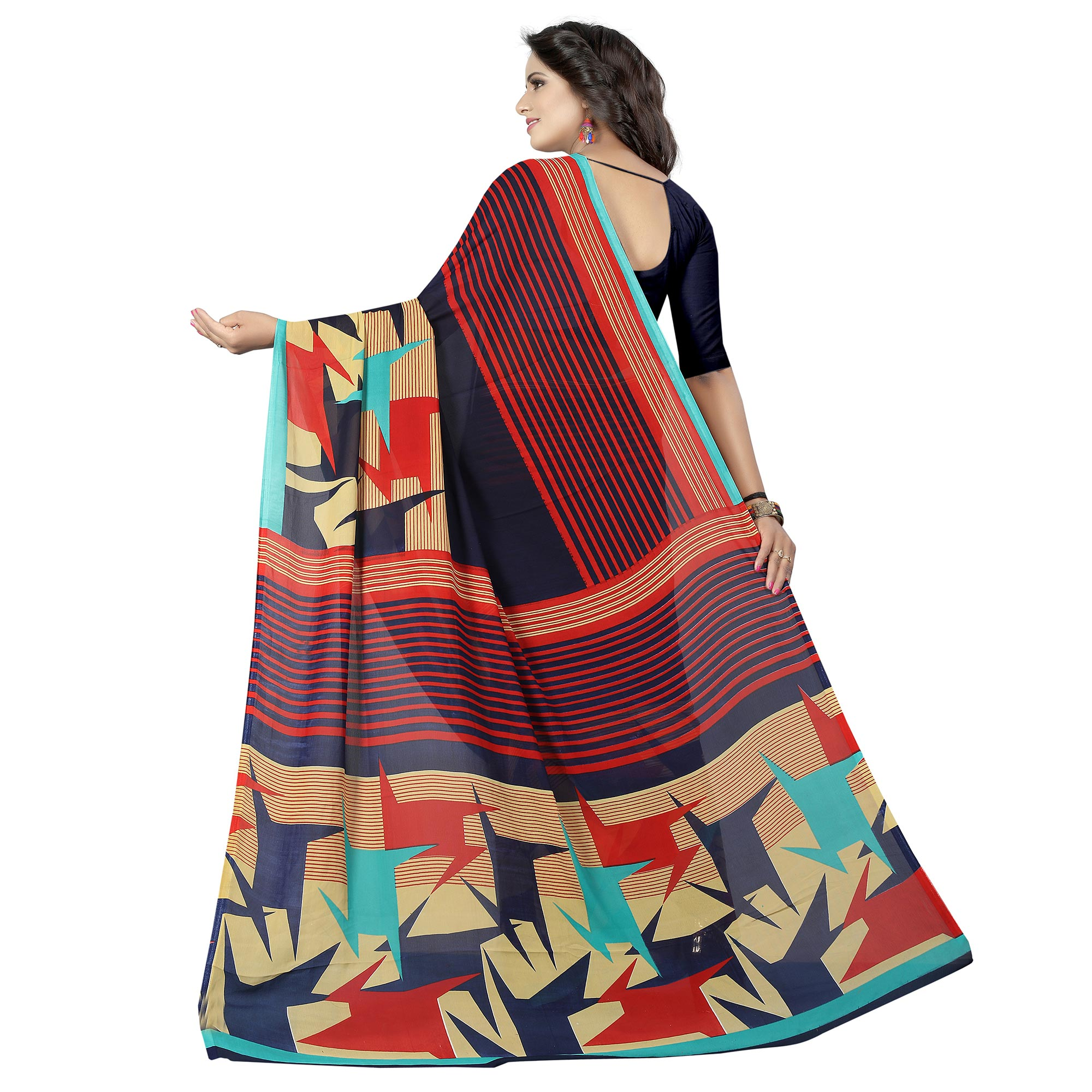 Breathtaking Navy Blue - Multi Colored Casual Wear Printed Georgette Saree
