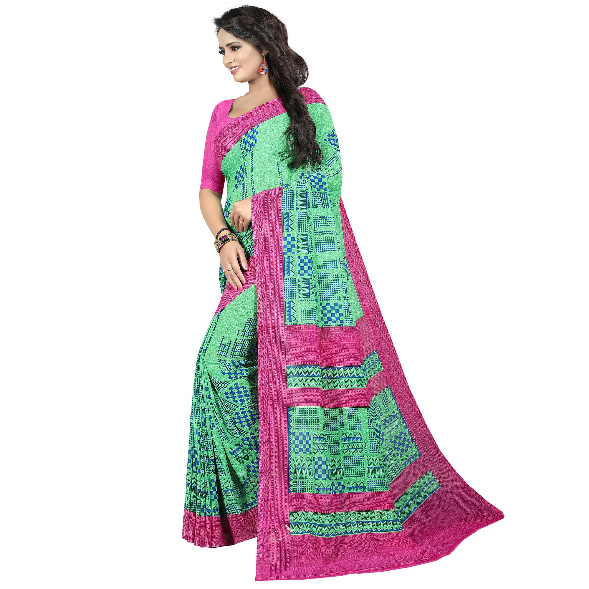 Impressive Turquoise Green Colored Casual Wear Printed Georgette Saree