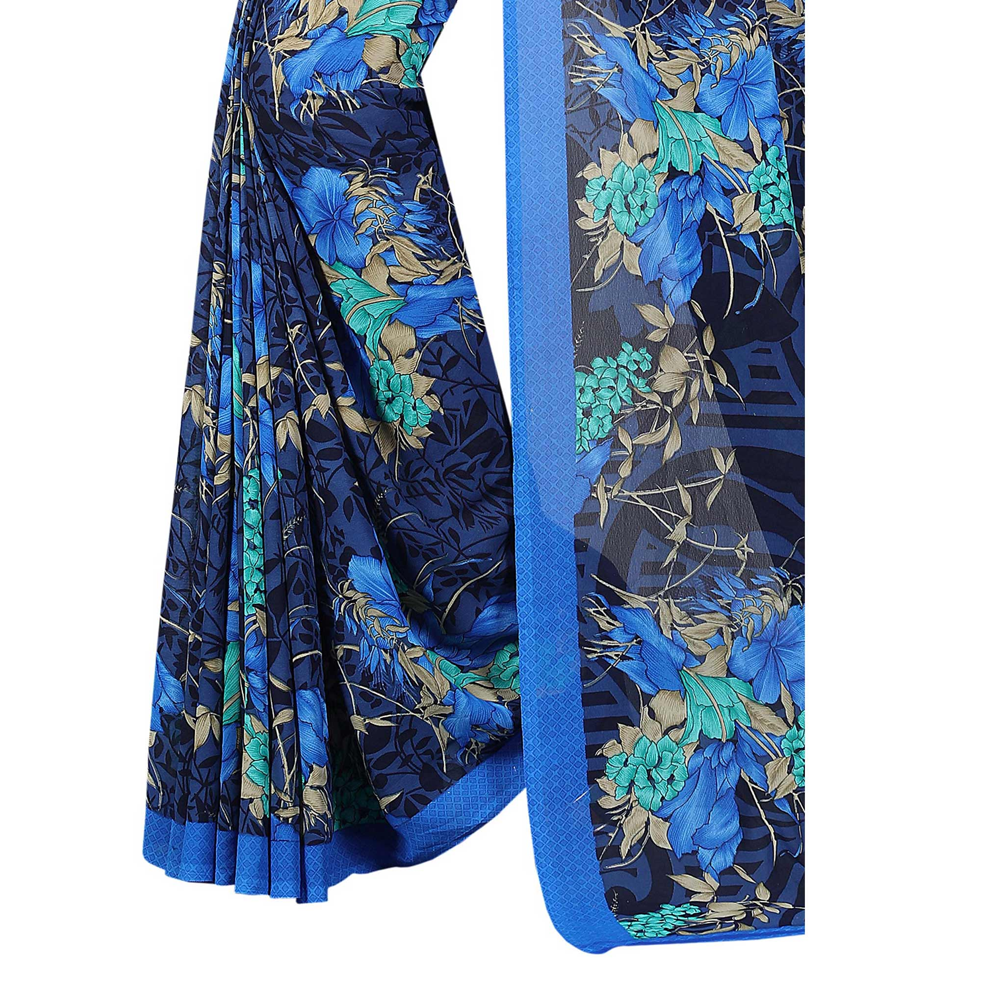 Innovative Blue Colored Casual Wear Printed Georgette Saree