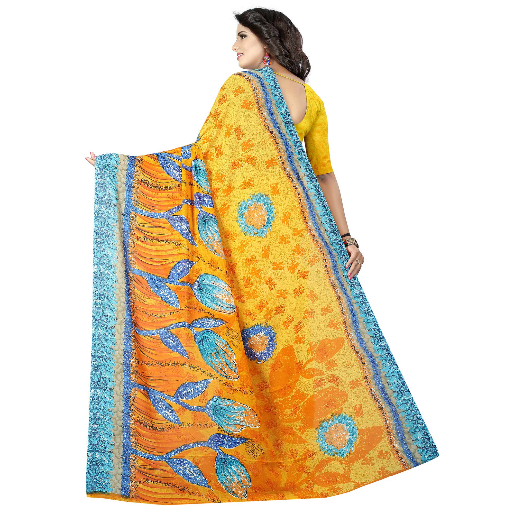 Gleaming Yellow Colored Casual Wear Printed Georgette Saree