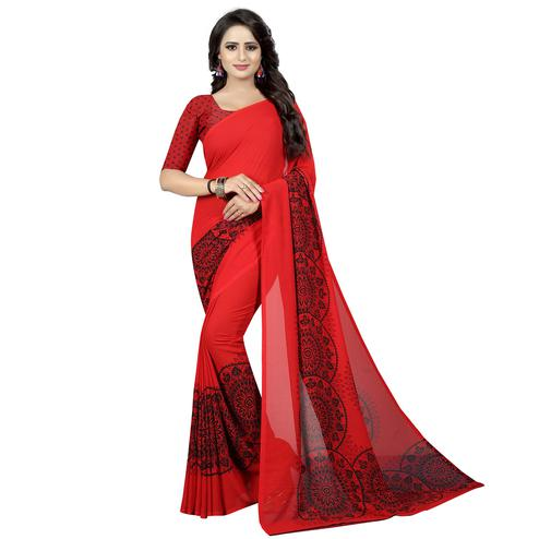 Arresting Red Colored Casual Wear Printed Georgette Saree