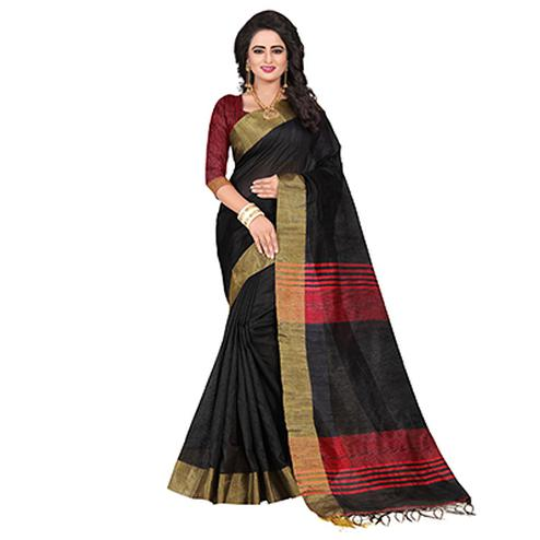 Dazzling Black Festive Wear Cotton Saree