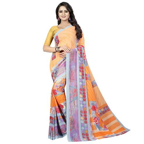 Excellent Beige Colored Casual Wear Printed Georgette Saree