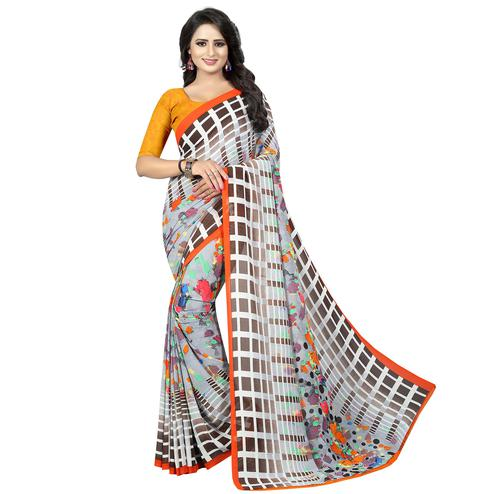 Ethnic Off White Colored Casual Wear Printed Georgette Saree