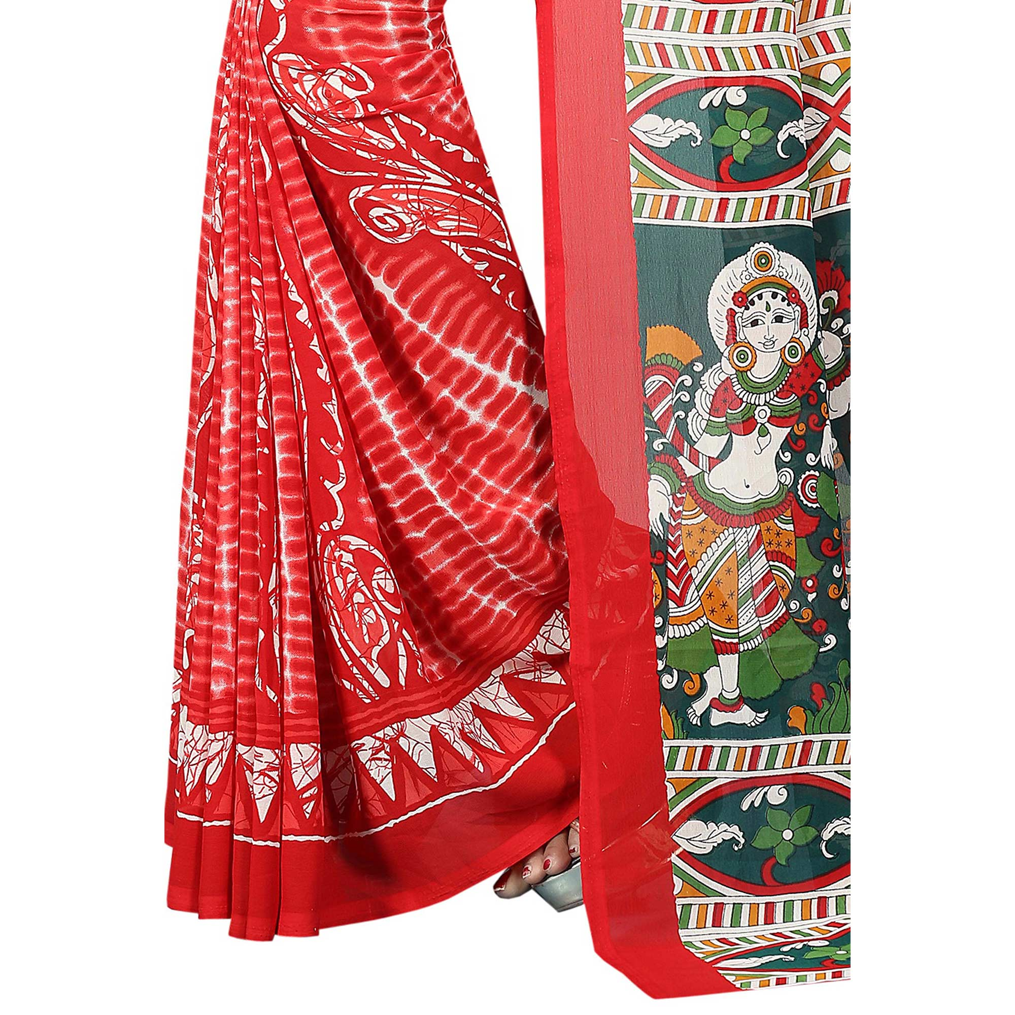 Starring Red Colored Casual Wear Printed Georgette Saree