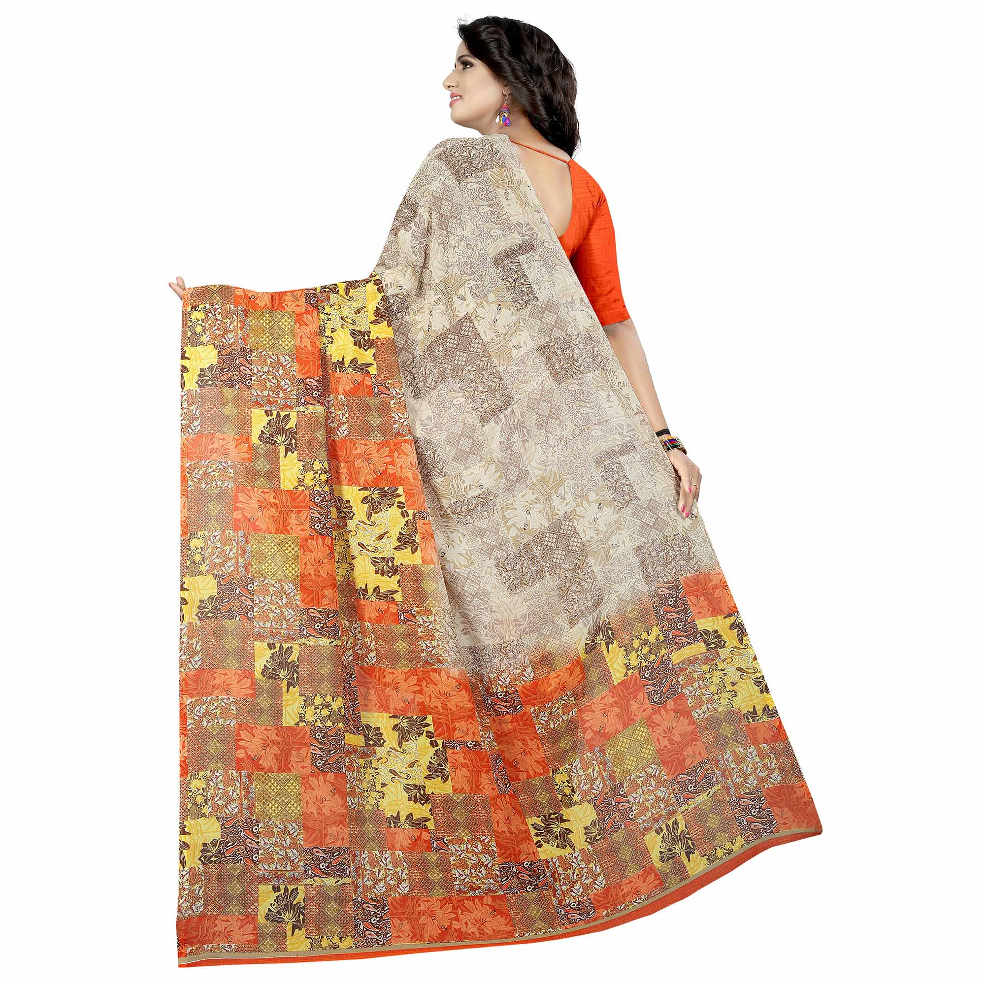 Flirty Multi Colored Casual Wear Printed Georgette Saree