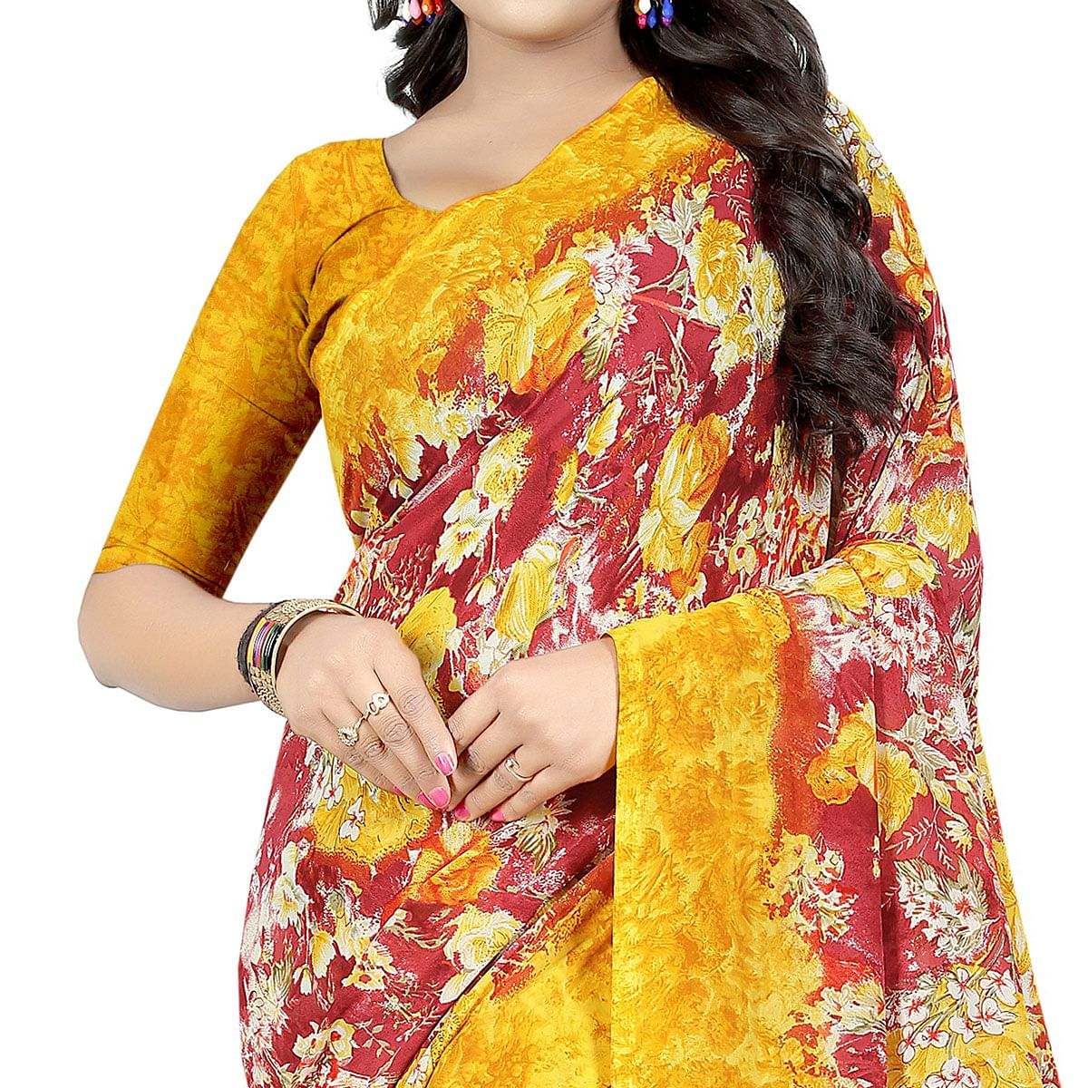 Hypnotic Yellow - Red Colored Casual Wear Printed Georgette Saree