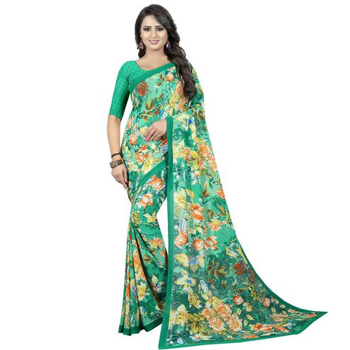 Trendy Turquoise Green Colored Casual Wear Printed Georgette Saree