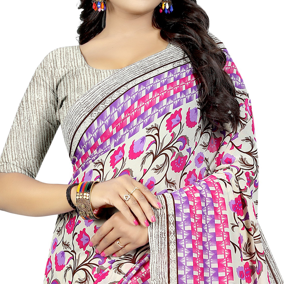 Magnetic Off White Colored Casual Wear Printed Georgette Saree