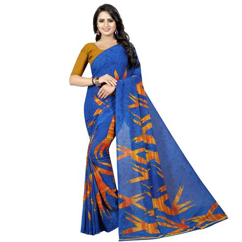 Energetic Blue Colored Casual Wear Printed Georgette Saree